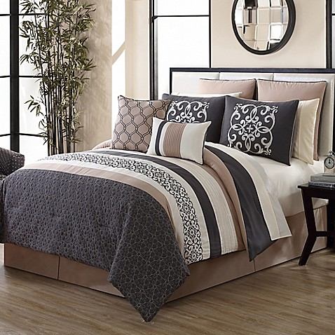 Canton 12 Piece Comforter Set In Grey Tan Bed Bath Amp Beyond