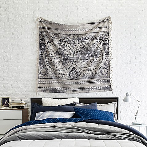 Map Tapestry Above Bed