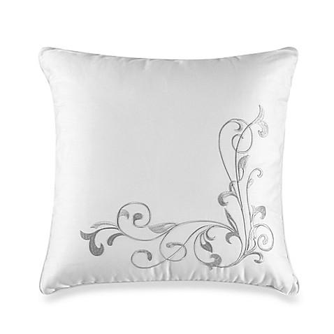 White Square Throw Pillows : Lyon Embroidered Square Throw Pillow in White - Bed Bath & Beyond