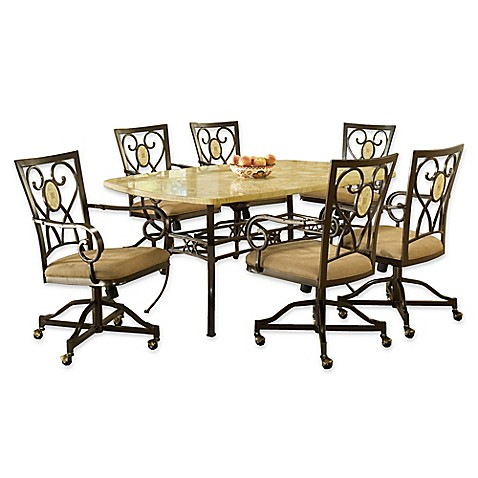 Hillsdale Furniture Brookside Rectangle Dining Set With Oval Back Caster Chai