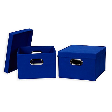 Household Essentialsu0026reg; Collapsible Fabric Storage Boxes with Lids (Set ...  sc 1 st  Bed Bath u0026 Beyond & Household Essentials® Collapsible Fabric Storage Boxes with Lids ...