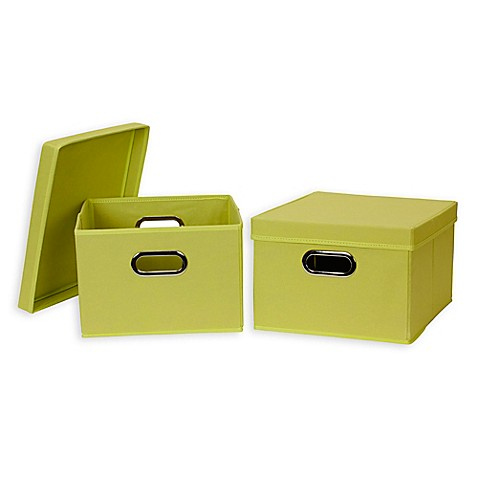 buy household essentials collapsible fabric storage boxes with lids in green set of 2 from. Black Bedroom Furniture Sets. Home Design Ideas