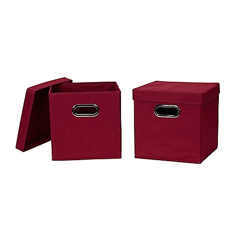 buy household essentials collapsible fabric storage bins with lids in red set of 2 from bed. Black Bedroom Furniture Sets. Home Design Ideas