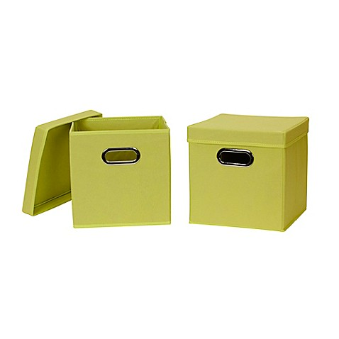 buy household essentials collapsible fabric storage bins with lids in green set of 2 from bed. Black Bedroom Furniture Sets. Home Design Ideas