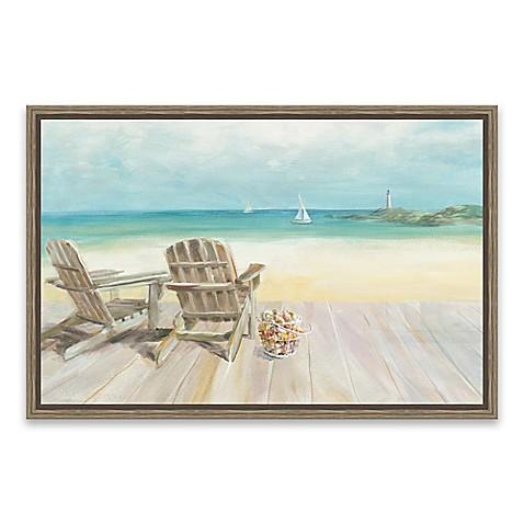 seaside morning no window framed canvas wall art - Window Frame Wall Art