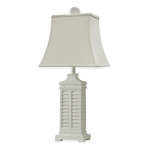 Buy Coastal Shutter Table Lamp in White with CFL Bulb from ...