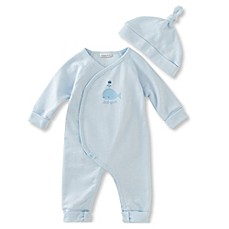 image of Absorba® French Terry Whale Coverall in Blue