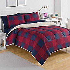 image of Izod® Buffalo Plaid Reversible Comforter Set in Red