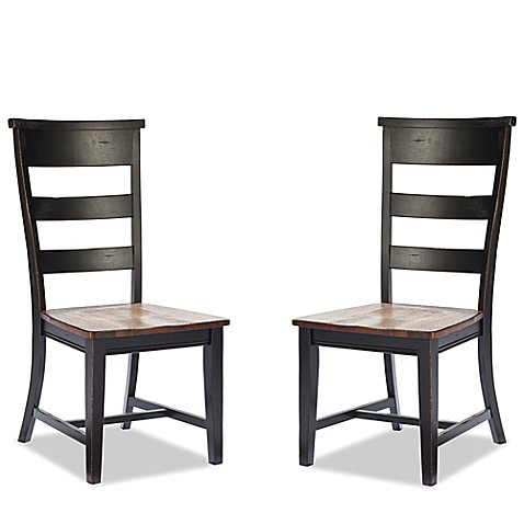 Intercon Furniture Winchester Ladder Back Side Dining Chairs In Black Honey Nut Set Of 2 Bed
