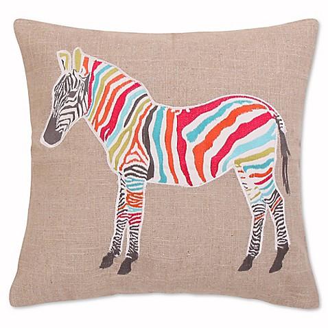 Levtex Home Marais Zebra Sparkle Burlap Square Throw Pillow in Grey - Bed Bath & Beyond