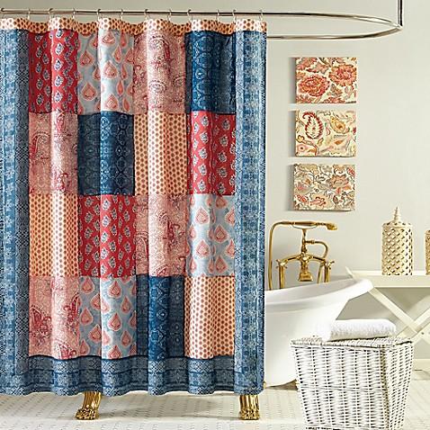 Jessica Simpson Grace Shower Curtain in Blue/Orange - Bed Bath ...