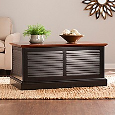 image of Southern Enterprises Abram Louvered Trunk Cocktail Table in Black