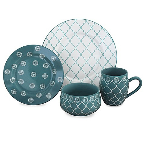 Baum Moroccan 16-Piece Dinnerware Set in Turquoise - Bed Bath & Beyond