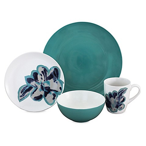 Baum Bloom Jade 16-Piece Dinnerware Set in White - Bed Bath & Beyond