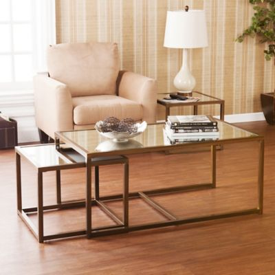 image of Southern Enterprises 3-Piece Nested End/Cocktail Table Set in Bronze