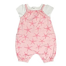 image of Mini Heroes 2-Piece Pink Star Sleeveless Romper and T-Shirt Set in White/Pink