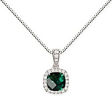 image of Sterling Silver Cushion-Cut Created-Emerald and White Sapphire Halo 18-Inch Pendant Necklace