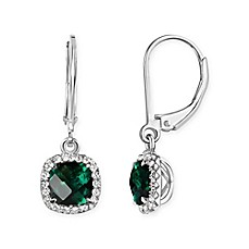 image of Sterling Silver Cushion-Cut Created-Emerald and White Sapphire Halo Leverback Drop Earrings