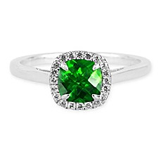 image of Sterling Silver Cushion-Cut Created-Emerald and White Sapphire Halo Ladies' Ring