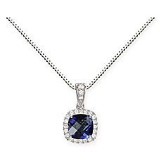 image of Sterling Silver Lab-Created Blue and White Sapphire Cushion-Cut 18-Inch Chain Halo Pendant Necklace
