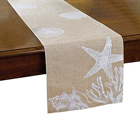 Shore shells table runner bed bath beyond for Table runners 52 inches