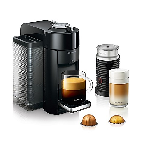 nespresso by de 39 longhi evoluo coffee and espresso maker bundle with aeroccino frother bed. Black Bedroom Furniture Sets. Home Design Ideas