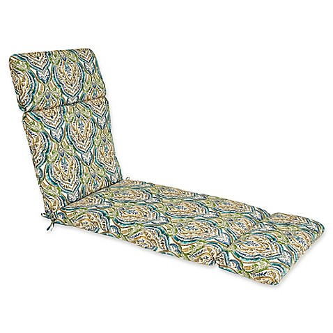 Outdoor chaise lounge cushion in avaco blue bed bath for Blue chaise lounge cushions