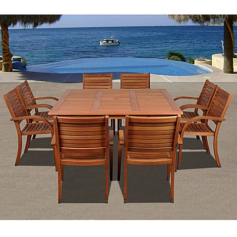 Amazonia arizona rectangular wood patio dining set bed - Bed bath and beyond palm beach gardens ...