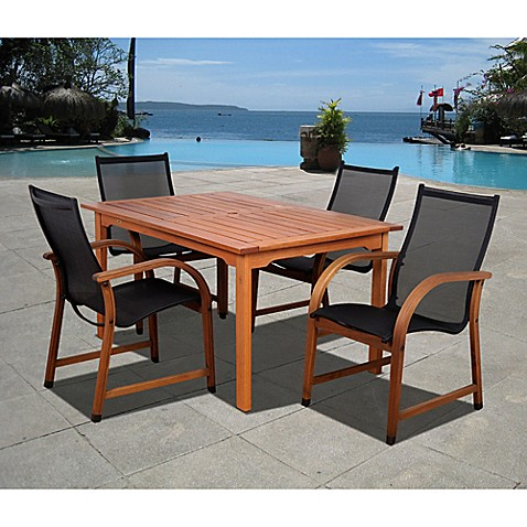 buy amazonia bahamas 5 piece rectangular eucalyptus outdoor patio dining set in brown black from. Black Bedroom Furniture Sets. Home Design Ideas