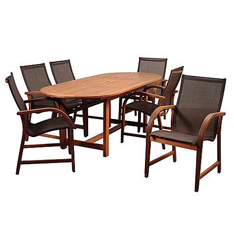 buy amazonia bahamas 7 piece extendable oval eucalyptus outdoor patio dining set in brown from. Black Bedroom Furniture Sets. Home Design Ideas