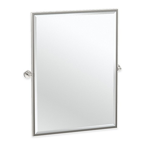 satin nickel bathroom mirror buy gatco glam 32 5 inch framed oval mirror in satin 20309