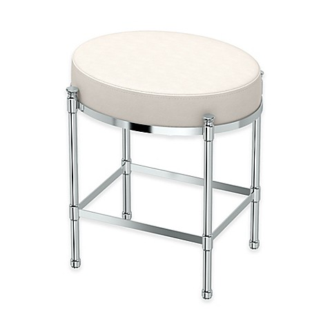 Buy Oval Vanity Stool With White Seat Cushion In Chrome
