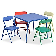 image of Flash Furniture Kids Colorful 5-Piece Folding Table and Chair Set