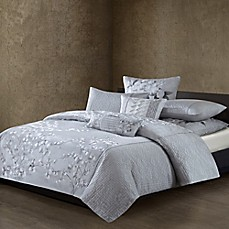 image of Natori® Orchid Quilted Duvet Cover in White