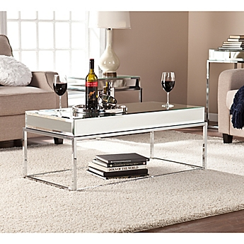 Popular Living Room Furniture. image of Southern Enterprises Dana Mirrored Cocktail Table in Silver Furniture  Bed Bath Beyond