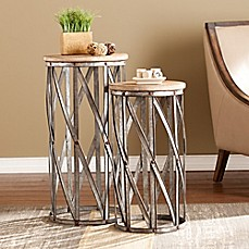 image of Southern Enterprises Mencino Accent Tables in Antique Silver (Set of 2)