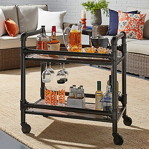 Verona Home Gunnison Industrial Bar Cart In Bronze Black