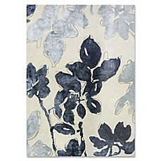image of Ivory Blue Floral Wool and Viscose Rug