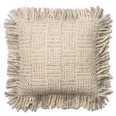 image of Magnolia Home Bernice 22-Inch  Square Throw Pillow in Grey/Ivory