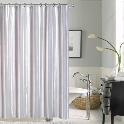 white and silver shower curtain   Bed Bath & Beyond