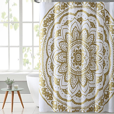 vcny karma shower curtain in gold white bed bath beyond. Black Bedroom Furniture Sets. Home Design Ideas