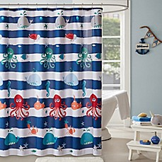 image of Mi Zone Kids Sealife Shower Curtain in Navy