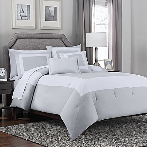 Hotel Band 5 Piece Comforter Set In Grey White Bed Bath