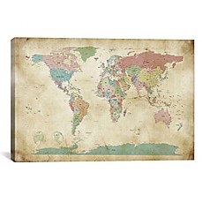 image of World Cities Map Canvas Wall Art
