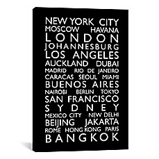 image of World Cities Bus Roll Canvas Wall Art