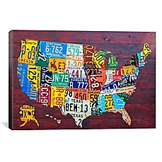 image of License Plate Map USA Canvas Wall Art