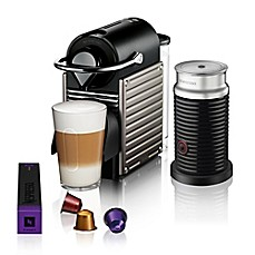 image of Nespresso® by Breville Pixie Espresso Maker Bundle with Aeroccino Frother in Titanium