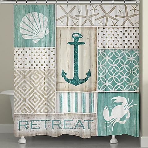 Laural Home Coastal Retreat Shower Curtain In Blue Beige Bed Bath Be