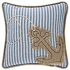 image of Coastal Living Anchor Square Throw Pillow in Denim/White