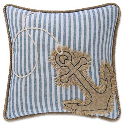 Coastal Living Anchor Square Throw Pillow in Denim/White - Bed Bath & Beyond
